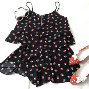 MNG Casual strawberry print romper